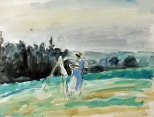 Wojciech WEISS (1875-1950), Aneri - Irena Weissowa malująca, 1919