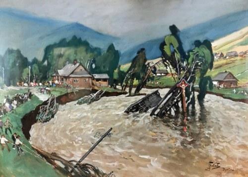 Julian FAŁAT (1853-1929), Powódź w Bystrej, 1915