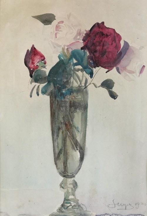 Leon WYCZÓŁKOWSKI (1852-1936), Róże w szklanym wazonie, 1920