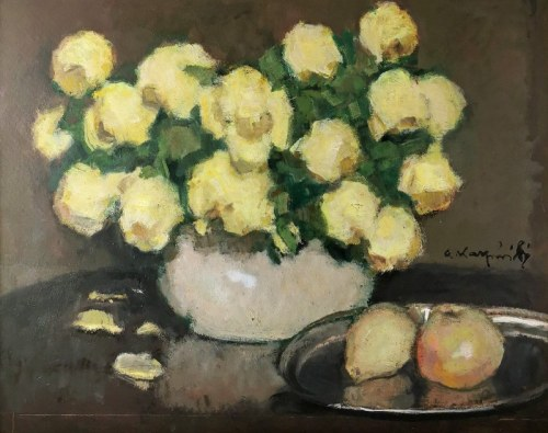 Alfons KARPIŃSKI (1875-1961), Róże żółte, ok. 1960