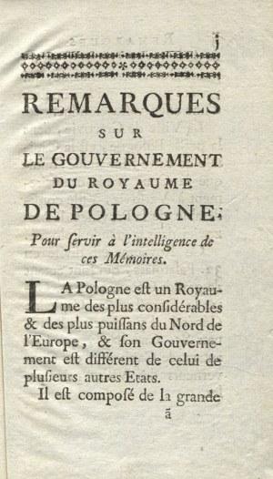 LA CHAPELLE, Armand Boisbeleau de - Memoires pour servir a l'histoire de Pologne...