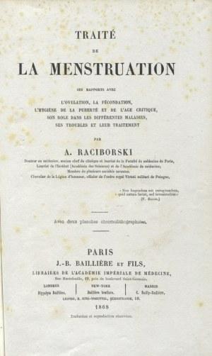 RACIBORSKI, Adam - Traité de la menstruation, ses rapports avec l'ovulation, la fécondation...
