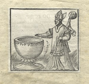 [LITWA, chrzest] Biskup wileński Andrzej Wasiło (zm. 1398) przy chrzcielnicy (chrzest Litwy w 1388 r.)...