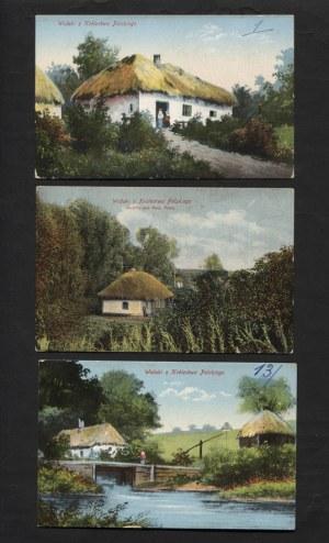 [POCZTÓWKI] (1) Typy polskie: 3 pocztówki kolor., 1915. (2) Widoki z Królestwa Polskiego: 3 pocztówki kolor....