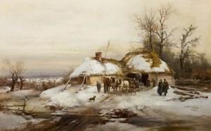 Franciszek Wastkowski (1843 Warszawa – 1900 tamże), Konie przed chatą, 1880 r.