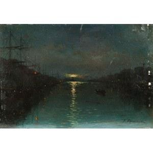 Ferdynand Ruszczyc (1870 Bohdanów k. Oszmiany - 1936 tamże), Nokturn- Nocny widok portu, 1893 r.