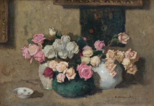 Alfons Karpiński (1875 Rozwadów - 1961 Kraków), Trzy bukiety kwiatów, ok. 1914 r.