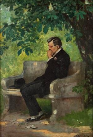 Apoloniusz Kędzierski (1861 Suchedniów – 1939 Warszawa), Mężczyzna na ławce, 1910 r.