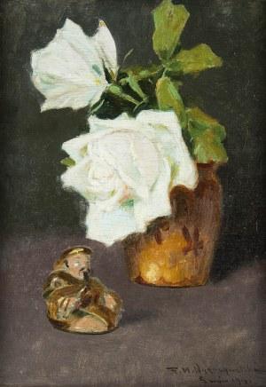 Feliks Michał Wygrzywalski (1875 Przemyśl - 1944 Rzeszów), Kwiaty białej róży i figurka buddy, 1941 r