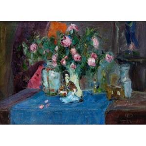Włodzimierz Terlikowski (1873 wieś pod Warszawą - 1951 Paryż), Martwa natura z różami i laleczką, 1923 r.