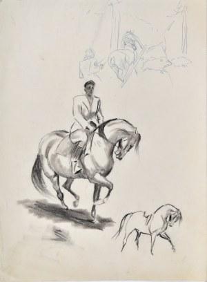 Ludwik Maciąg (1920-2007), Szkice: jeździec na koniu, koń, uciekające dziki, koń zaprzężony do pługu