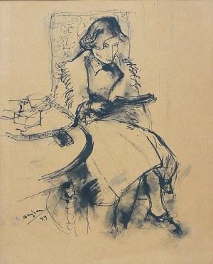 Henryk Hayden (1883 Warszawa - 1970 Paryż), Siedząca kobieta (pani Hayden), 1949