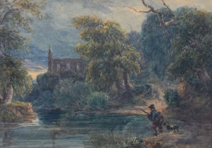 Artysta nieokreślony (1 poł. XX w.), Pejzaż z myśliwym