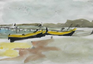 Piotr Potworowski (1898 Warszawa-1962 tamże), Łodzie na brzegu morza