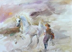 Zenon Aniszewski (ur. 1948 r. Grudziądz), Siodłanie konia, 2020
