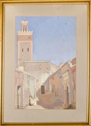 Antoni TESLAR (1898-1972), Zaułek w Marrakeszu z widokiem na Meczet Księgarzy (1935)