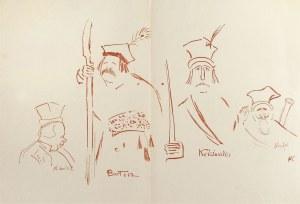 """Karol Frycz (1877-1963), Zelwerowicz, Kotarbiński i Jednowski jako Lichocki, Bartosz i Nicefor oraz Kościuszko w sztuce Anczyca """"Kościuszko pod Racławicami"""", 1904"""