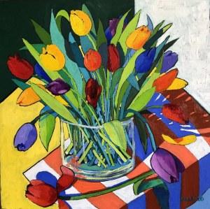 David Schab, Tulipany w wazonie, 2020