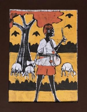 Sainey, Muzykant grający na bębnie na tle owiec i drzewa kapakowego
