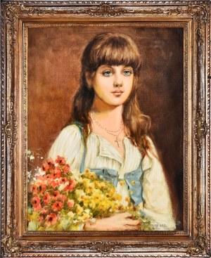 Juliusz Zuber (1861-1910), Portret dziewczynki, 1891