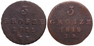 Księstwo Warszawskie, Zestaw 3 grosze 1811-1812