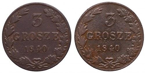 Poland under Russia, Lot of 3 groschen 1840