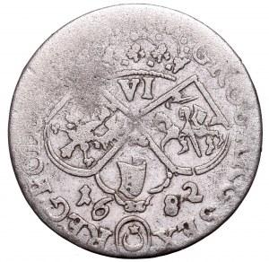 Jan III Sobieski, Szóstak 1682, Kraków - popiersie w zbroi i płaszczu