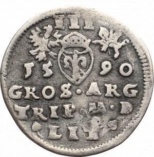 Zygmunt III Waza, Trojak 1590, Wilno - herb Chalecki pod popiersiem