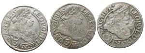Silesia, Leopold I, set 3 x 3 kreuzer 1666
