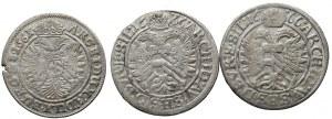 Silesia, Leopold I, set 3 x 3 kreuzer 1661 - 1666
