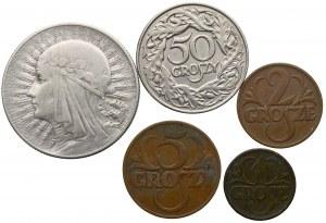II Rzeczpospolita, zestaw monet od 1 grosza do 5 złotych