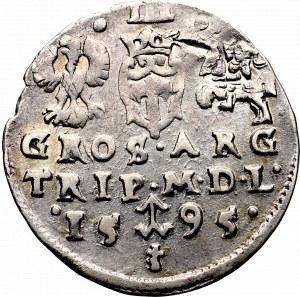 Zygmunt III Waza, Trojak 1595, Wilno - herby Prus i Chalecki