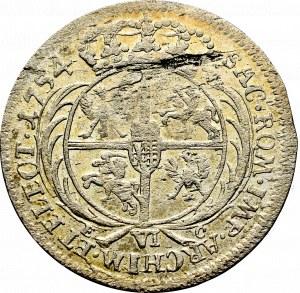 August III Sas, Szóstak 1754 - szerokie popiersie.