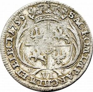 August III Sas, Szóstak 1755 - szerokie popiersie
