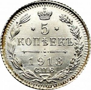 Rosja, Mikołaj II, 5 kopiejek 1913 СПБ-ВС