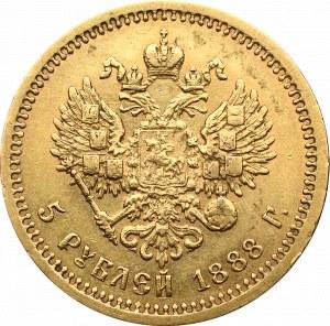 Rosja, Aleksander III, 5 rubli 1888