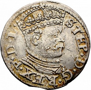 Stefan Batory, Trojak 1586, Ryga - mała głowa PIĘKNY
