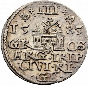 Stefan Batory, Trojak 1585, Ryga - duża głowa