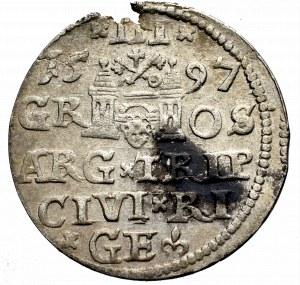 Zygmunt III Waza, Trojak 1597, Ryga - nieopisany LI•