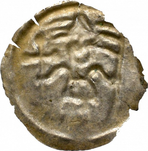 Kujawy(?), Brakteat Rycerz z krzyżem i proporcem