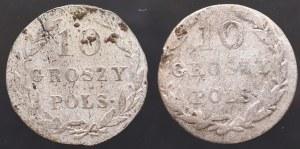 Królestwo Polskie, Zestaw 10 groszy 1820 i rzadki 1830