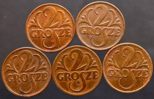 II Rzeczpospolita, zestaw 5 monet 2 grosze 1938