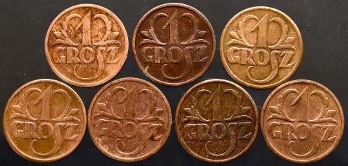II Rzeczpospolita, zestaw 5 monet 1 grosz 1938