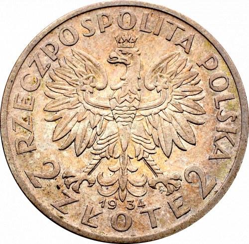 II Rzeczpospolita, 2 złote 1934 Głowa kobiety