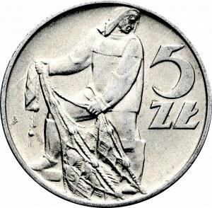 PRL, 5 złotych 1958 Rybak - wąska ósemka
