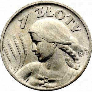 II Rzeczpospolita, 1 złoty 1925 (z kropką), Londyn Kobieta i kłosy