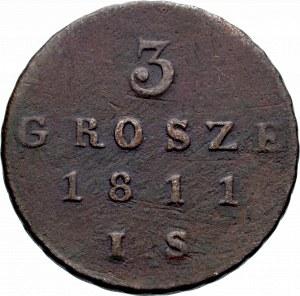 Księstwo Warszawskie, Fryderyk August I, 3 grosze 1811 IS