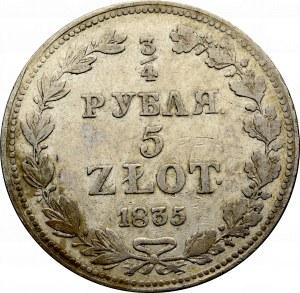Zabór rosyjski, 3/4 rubla=5 złotych 1835 MW