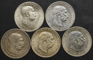 Austria, zestaw 1 korona 1893-1916 (5 sztuk)