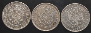 Rosyjska okupacja Finlandii, zestaw 1 markka 1866-1893 (4 sztuki)